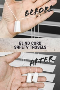 Blind cord safety tassels before and after