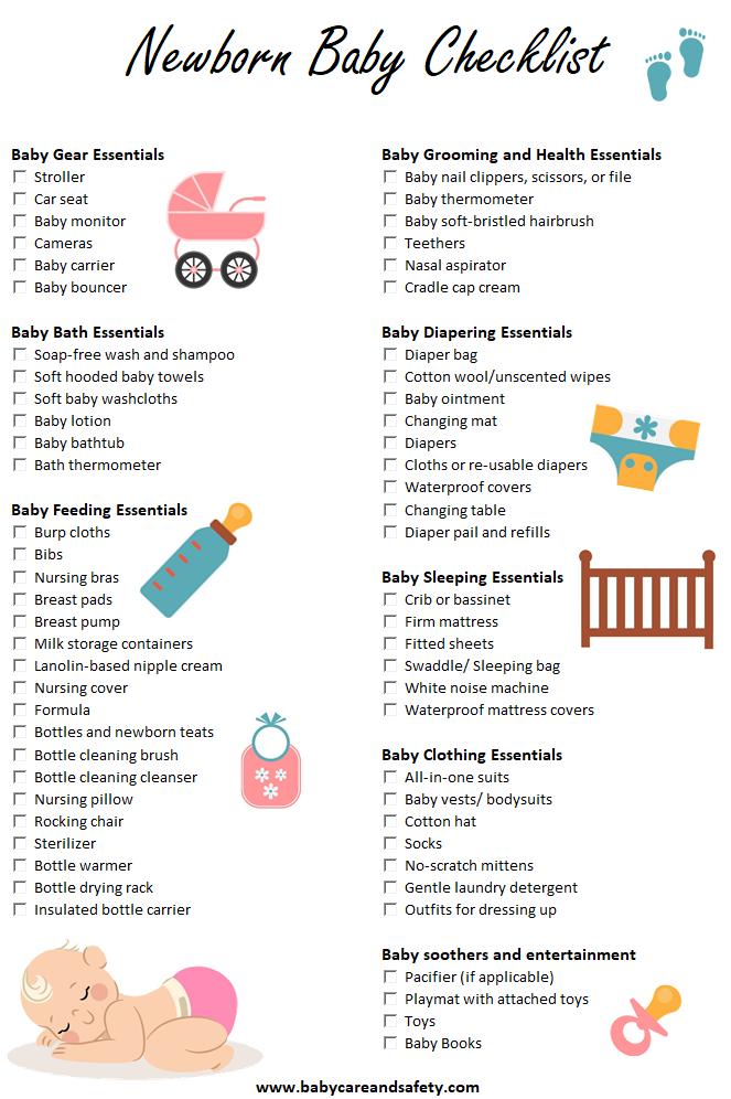 Newborn baby checklist by www.babycareandsafety.com